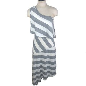 NWT Go Couture | One Shoulder Striped Maxi Dress